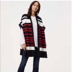 Ann Taylor Loft Red Blue Striped Oversized Poncho